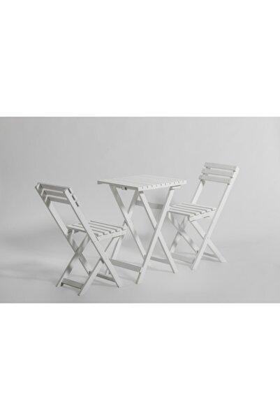 Özdağ Gürgen Beyaz Renk 50x50 Katlanır Masa Ve 2 Adet Katlanır Sandalye