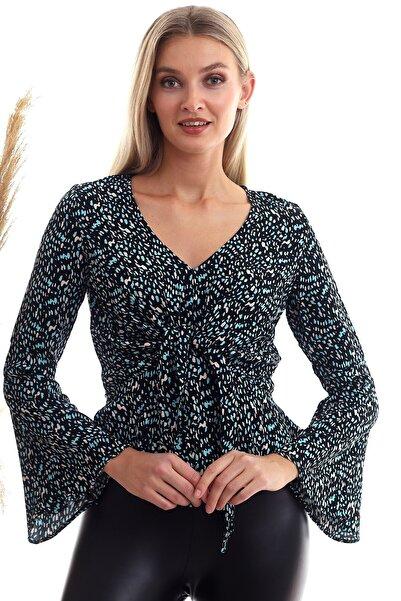 Cotton Mood 20333372 Dok.viskon Desenli Önü Bağlamalı Volanlı Bluz Sıyah Turkuaz
