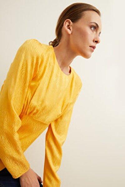 Kadın Safran Jakarlı Uzun Kol Bluz