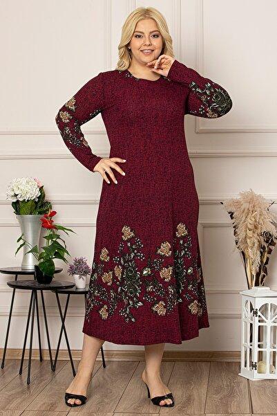 1fazlası Kadın Bordo Çiçek Desen Uzun Esnek Krep Elbise