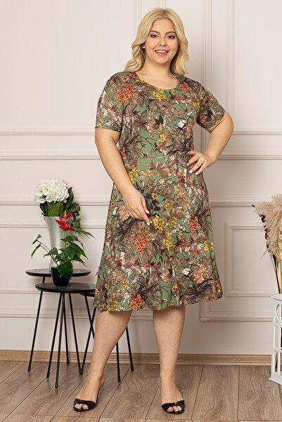 1fazlası Kadın Büyük Beden Yeşil Çiçek Baskılı Viskon Elbise