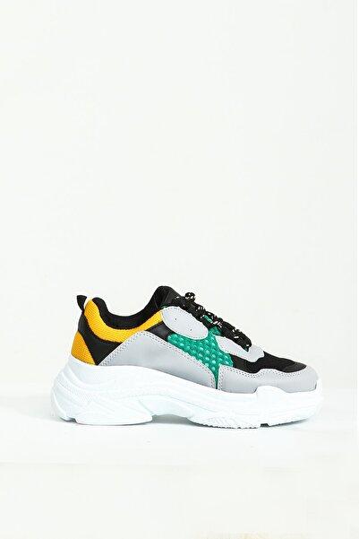 Collezione Mix Parçalı Bağcıklı Kalın Taban Kadın Sneaker