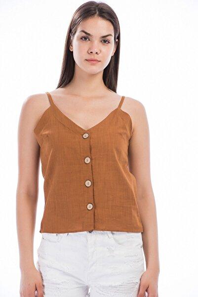 Cotton Mood 8281240 Keten Önü Düğmeli Askılı Bluz Tarçın