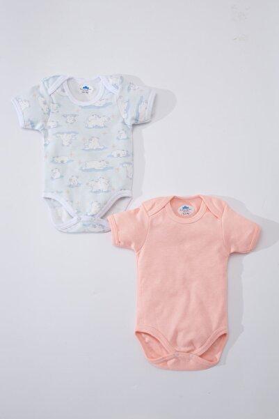 Sema Baby Pembe Sevimli Ayıcık Baskılı Turkuaz 2 Li Kız Bebek Kısa Kollu Bady Ant03348-sb-tp