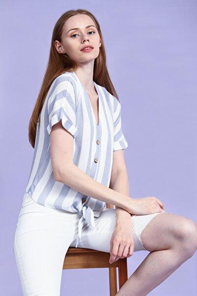 Collezione Mavi Önü Bağlamalı Çizgili Kısa Kollu Kadın Bluz