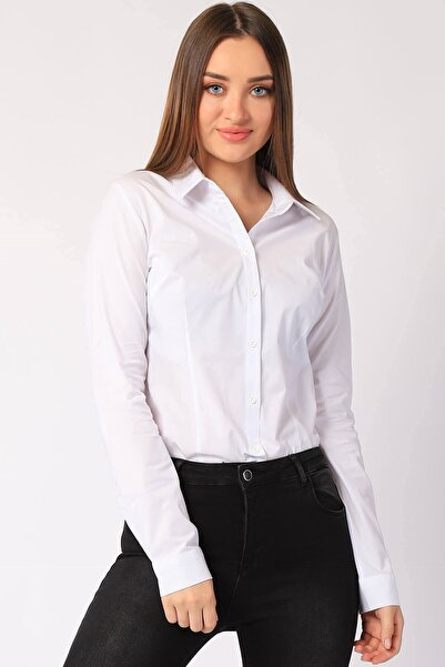 Twister Jeans Kadın Gömlek Bayan Basic Gömlek 22265 Beyaz