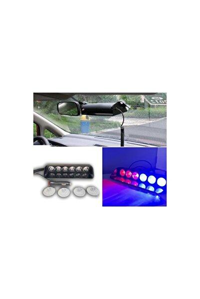 iq elektronik Araç Içi Vantuzlu Çakar Lamba Kırmızı-mavi 12v 6 Ledli 7 Modlü