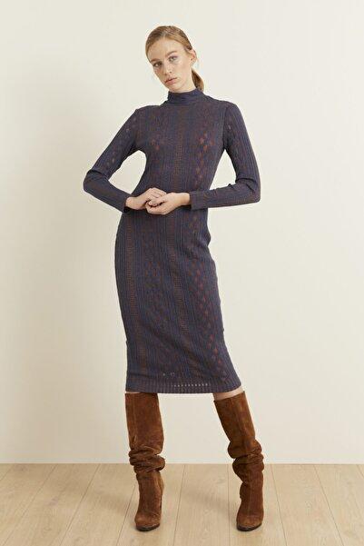 adL Kadın Lacivert Örme Uzun Kol Dar Elbise