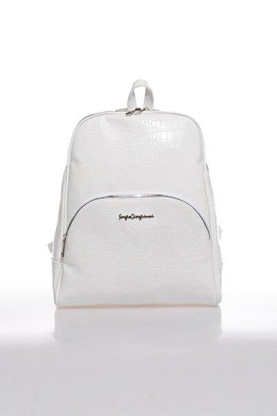 Sergio Giorgianni Luxury Sg1581 Beyaz Kroko Kadın Sırt Çantası