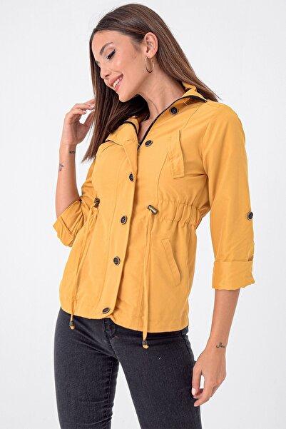 By Saygı Beli Lastikli Düğmeli Soft Mont Sarı