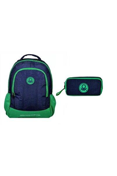 Benetton Lacivert-yeşil Okul - Kalem Çantası Takım 96924\96014