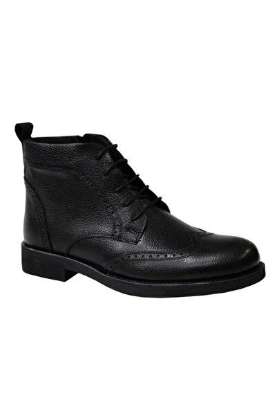 KALE 0433 Siyah Hakiki Deri Erkek Ayakkabı Bot