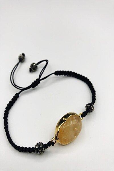 Dr. Stone Dr Stone Doğaltaş Sitrin Taşı Altın Kaplama El Yapımı Kadın Bileklik Tkrb54