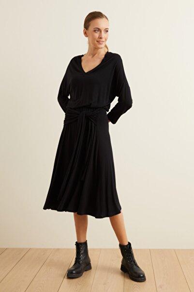 adL Kadın Siyah Örme Belden Bağlamalı Elbise