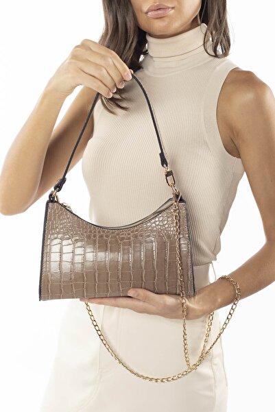 Madamra Aynı Butikte 2.Ürün 1 TL  Koyu Vizon Kadın Baget Zincir Askılı Omuz Çantası ve Postacı Çantası