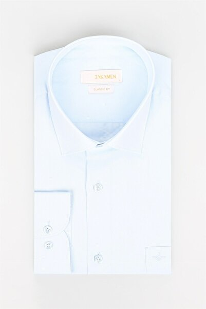 Jakamen Mavi Tek Cep Klasik Fit Erkek Gömlek