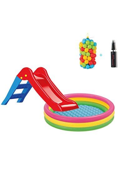 Intex Kaydıraklı Oyun Seti 147 Cm Tabanı Boğumlu Havuz + 6 Cm 100'lü Oyun Havuz Topu + Pompa