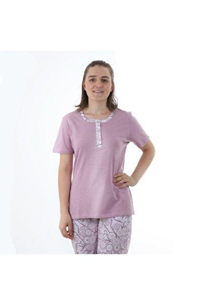 Çift Kaplan Önden 3 Düğmeli Kısa Kol Pijama Takımı 7639