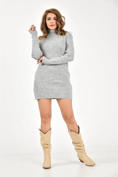 Modkofoni Yarım Balıkçı Yaka Mini Gri Triko Elbise