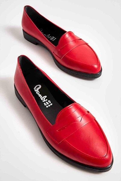 Bambi Kırmızı Kadın Loafer Ayakkabı M06411700