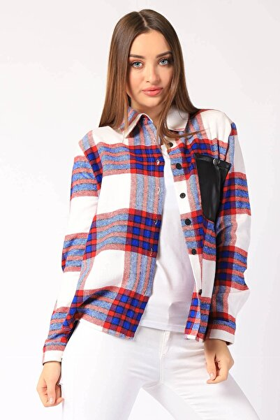 Twister Jeans Kadın Gömlek Kadın Ekose Deri Cepli Gömlek 26918 Fusya