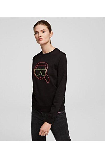 Karl Lagerfeld Karl Ikonik Neon Dijital Baskılı Siyah Sweatshirt