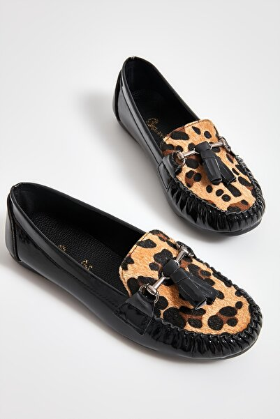 Bambi Siyah/leopar Tay Kadın Loafer M0542122598