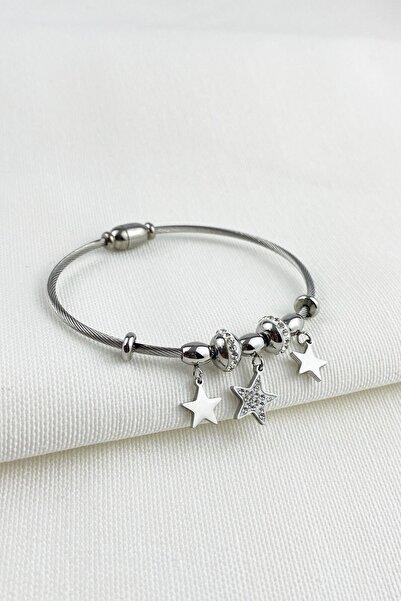 Çlk Accessories Çelik Zirkon Taşlı Yıldız Mıknatıslı Bayan Bileklik Trbilek7411 B36503
