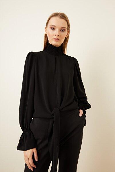 adL Kadın Siyah Önü Bağlamalı Bluz