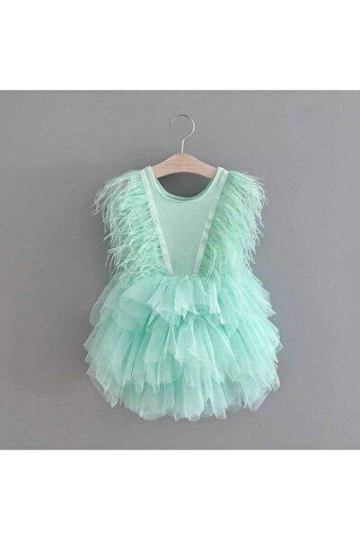 Le Mabelle Mint Tüylü Kız Çocuk Elbise - Annabel