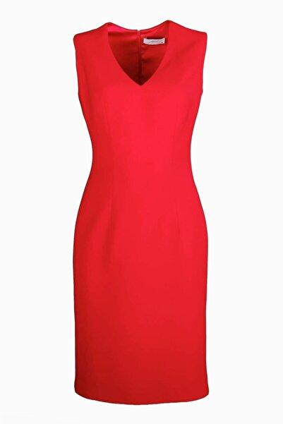 pimood Belle V Yaka Kolsuz Kırmızı Kalem Elbise
