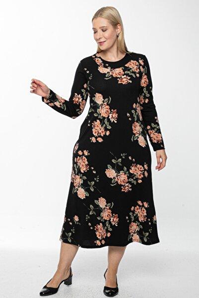 Osyoumoda Büyük Beden Siyah Zara Desen Yaka Pervazlı Uzun Elbise