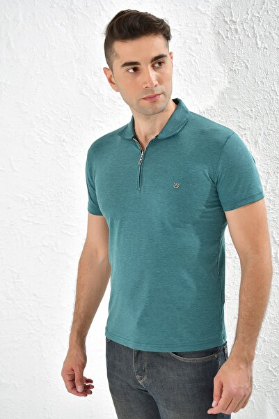 Rodi Jeans Rodi Ty20ye275215 Yeşil Erkek Fermuarlı Polo Yaka Metal Armalı Tshirt