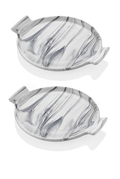 Mermer Görünümlü 2li Pasta Sunum Tabağı 21 Cm