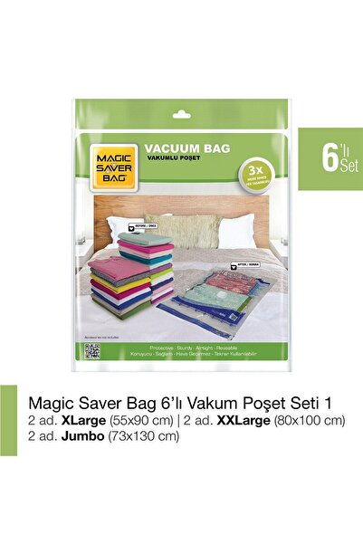 Magic Saver Bag 6'lı Vakumlu Poşet Set-1