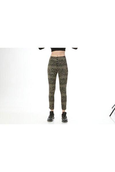 Rodi Jeans Rodi Ds21kb015476 Haki Kadın Dış Düğmeli Yılan Desenli Pantolon