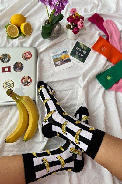 CARNAVAL SOCKS 3'lü Siyah Muz Desenli Renkli Tasarım Çorap