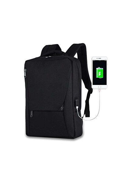 My Valice Unisex Active Usb Şarj Girişli Slim Notebook Sırt Çantası Siyah Mv0096