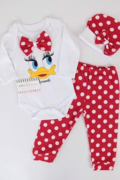 Miniworld Kırmızı Ördekli Kız Bebek 3lü Zıbın Takım K