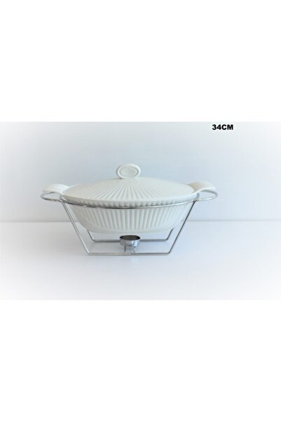 çerçi Isıtıcılı Porselen Fırın Kabı 34 Cm