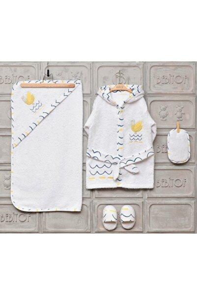 Bebitof Yeni Sezon Kız Erkek Bebek Evli Kuş Bornoz Seti 30017