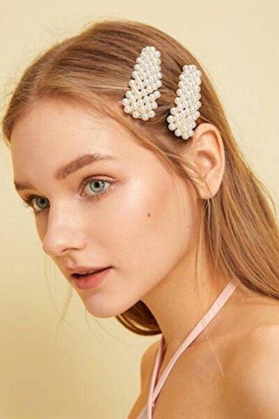 H&E DESIGN Kadın 2'li Beyaz Incili Lüx Zara Model Yan Çıt Çıt Saç Tokası