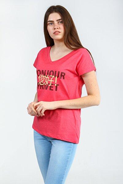 Collezione Mercan Önü Basklılı V Yakalı Kısa Kollu Kadın Tshirt