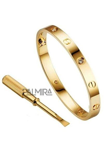 Palmira Aksesuar Altın Renk Cartier Love Taşlı Çelik Bileklik