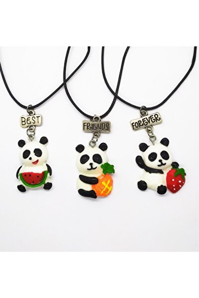 AlpCollection Sevimli Panda Meyveli Best Friends Bff 3lü Suni Deri Ipli Kolye
