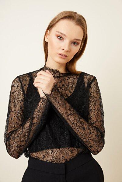 adL Kadın Siyah Dantel Uzun Kol Bluz
