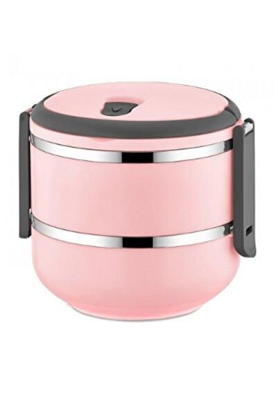 FreshBox 2 Katlı Sızdırmaz Yemek Termosu Sefer Tası Saklama Kabı Pudra Pembe 1,50 Litre