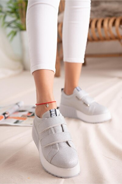 Limoya Julia Gümüş Simli Çift Bantlı Yüksek Tabanlı Sneakers