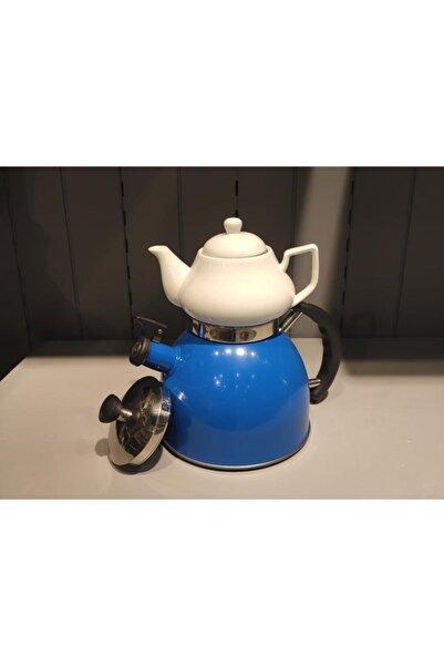 BİEV  Üst Porselen Alt Emaye 2,5lt Düdüklü Çaydanlık Sea104 Mavi
