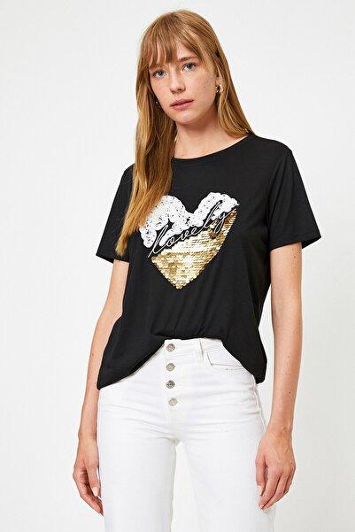 Koton Kadın Yazılı Baskılı Pul Işlemeli Siyah T-shirt 0yak13972ek